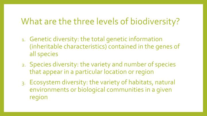 What are the three levels of biodiversity