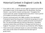historical context in england locke hobbes
