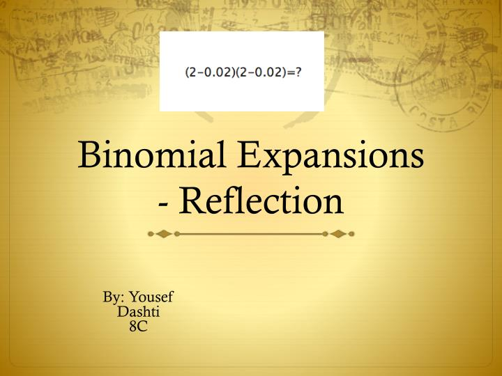 binomial expansions reflection n.
