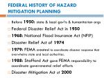 federal history of hazard mitigation planning