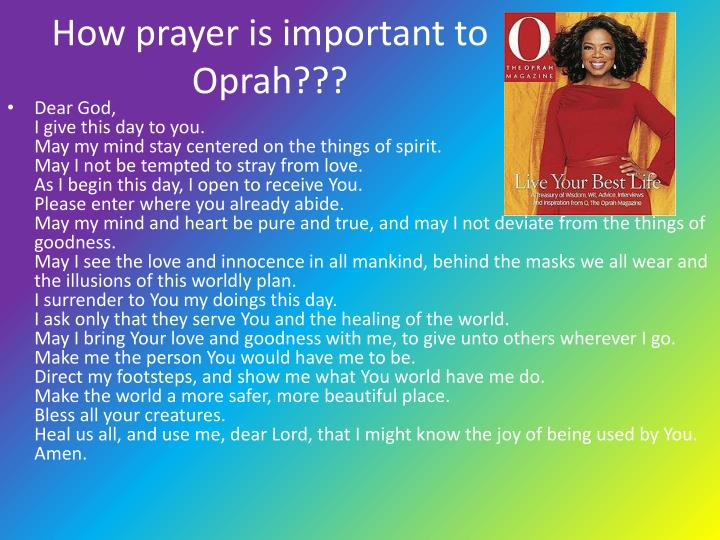 How prayer is important to Oprah???