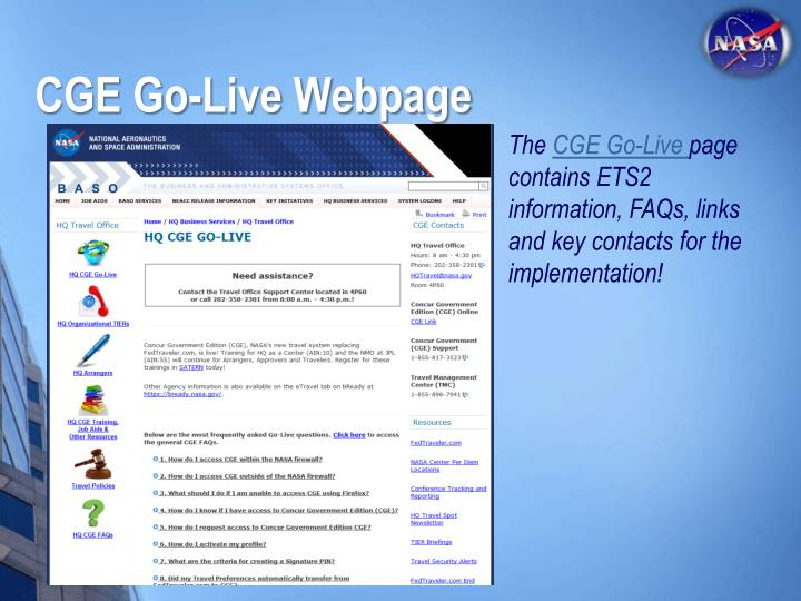 CGE Go-Live Webpage