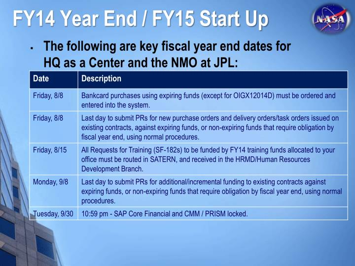 FY14 Year End / FY15 Start Up