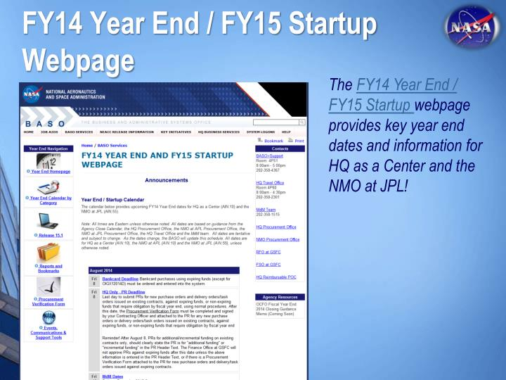 FY14 Year End / FY15 Startup Webpage