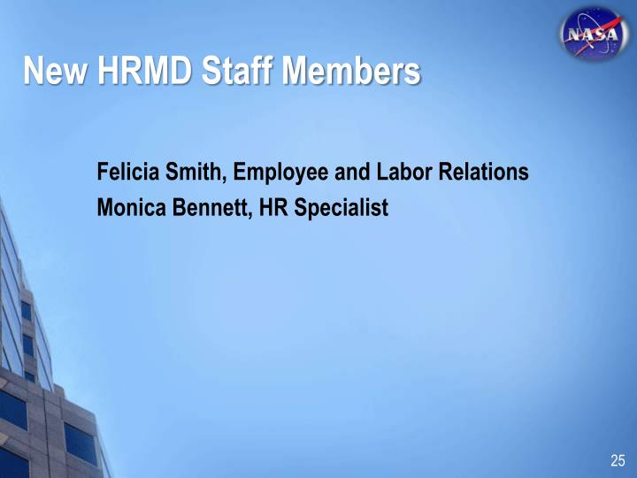 New HRMD Staff Members