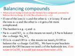 balancing compounds