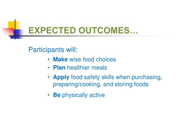EXPECTED OUTCOMES…