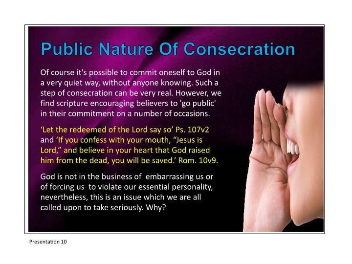 Public Nature Of Consecration