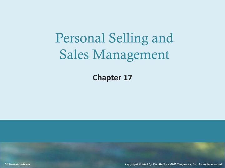 personal selling and sales management n.