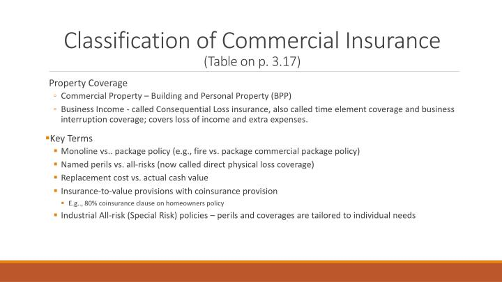 Classification of Commercial Insurance