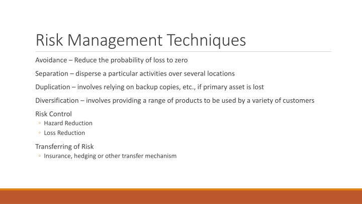 Risk Management Techniques