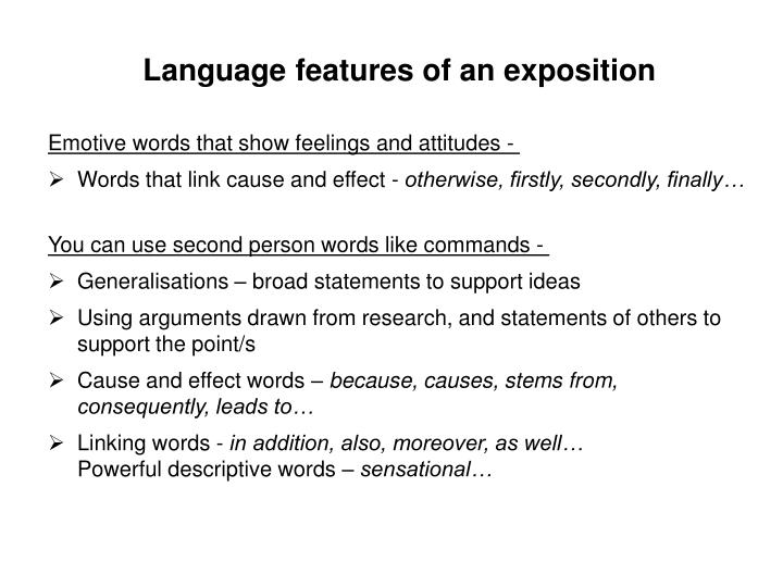 Language features of an exposition