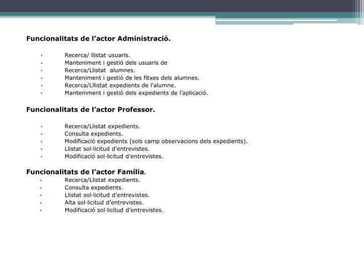 Funcionalitats de l'actor Administració