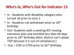 who s in who s out for indicator 13