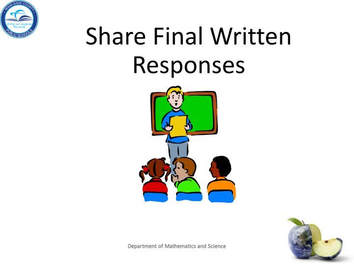 Share Final Written Responses