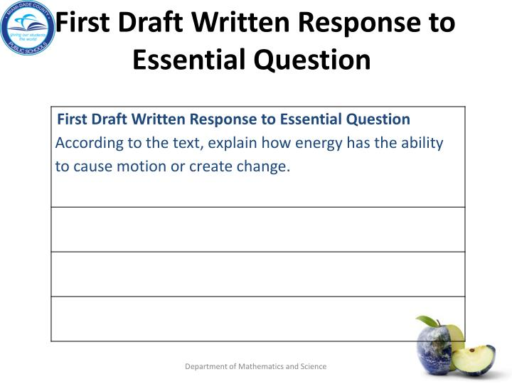 First Draft Written