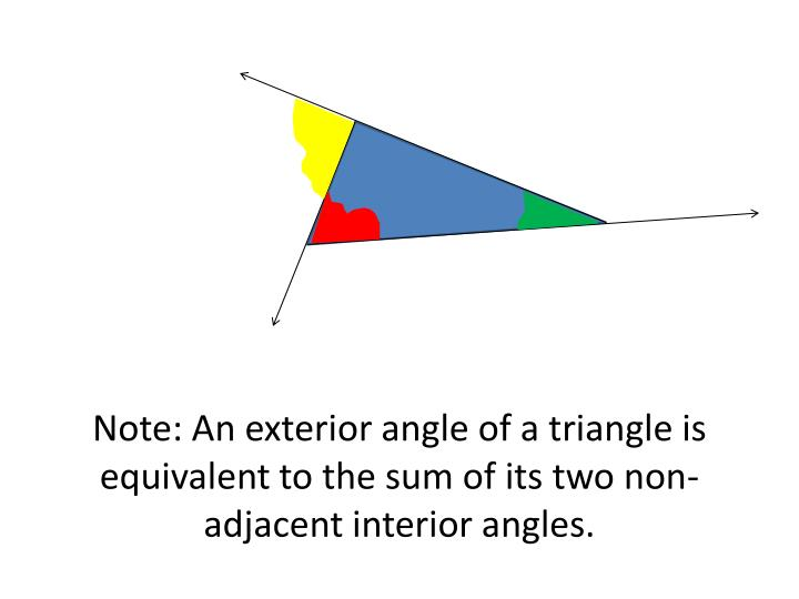 Note: An exterior angle of a triangle is equivalent to the sum of its two non-adjacent interior angl...