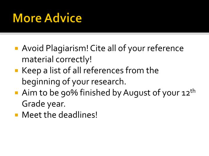 More Advice