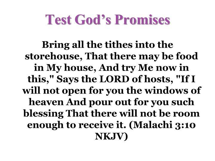 Test God's Promises