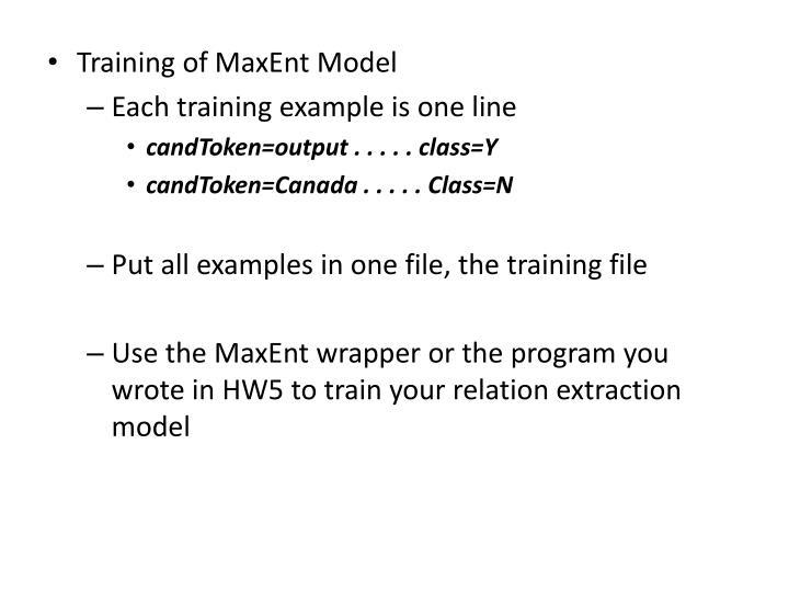 Training of
