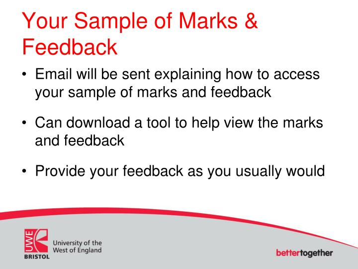 Your sample of marks feedback