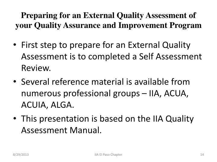 quality assessment manual for the internal audit activity