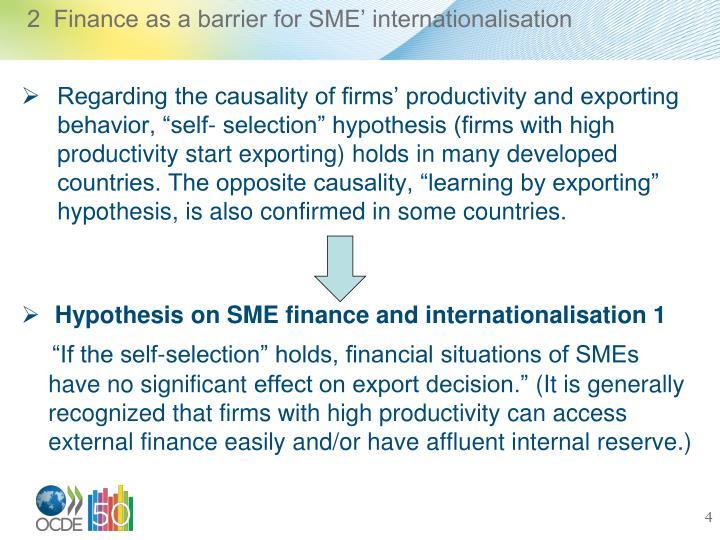 2  Finance as a barrier for SME' internationalisation