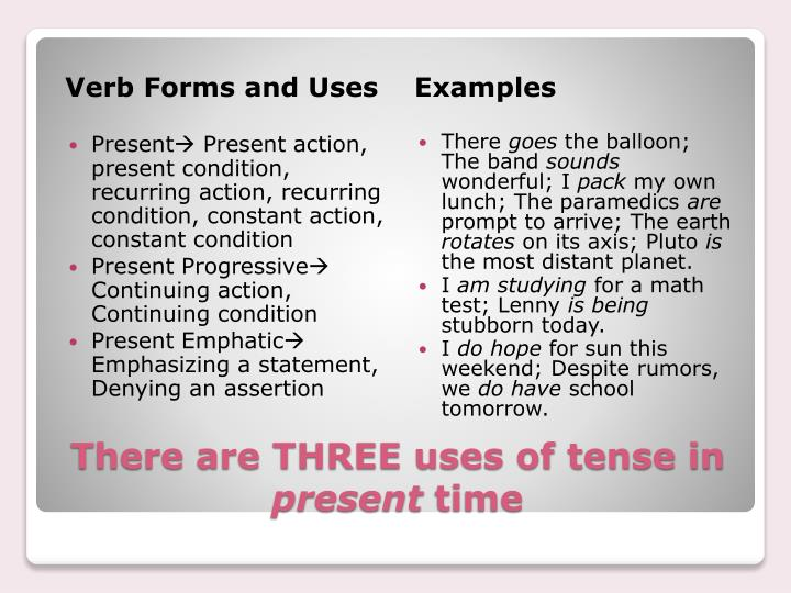 There are three uses of tense in present time
