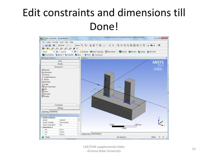 Edit constraints and dimensions till