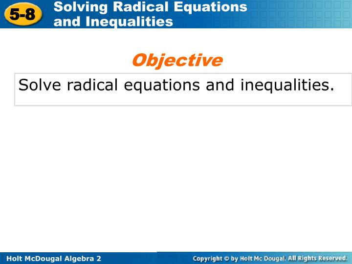 Solve Radical Equations And Inequalities