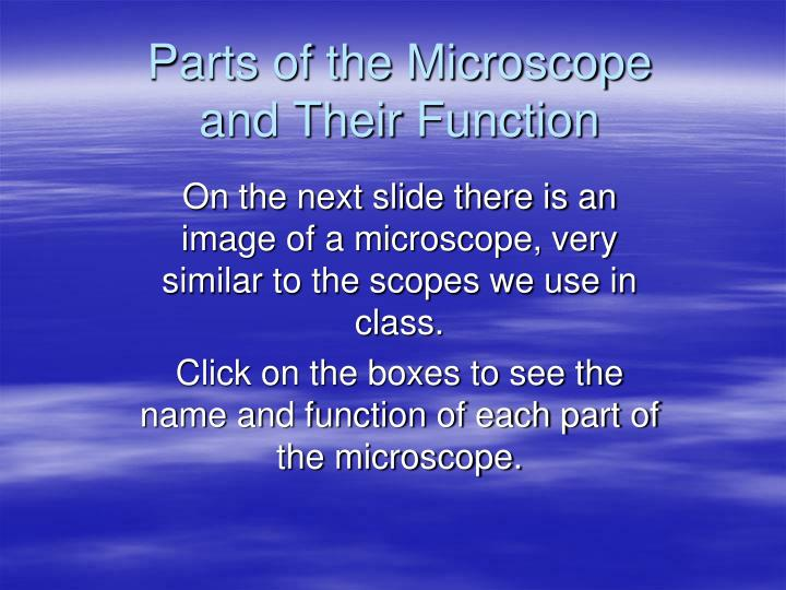 parts of the microscope and their function n.