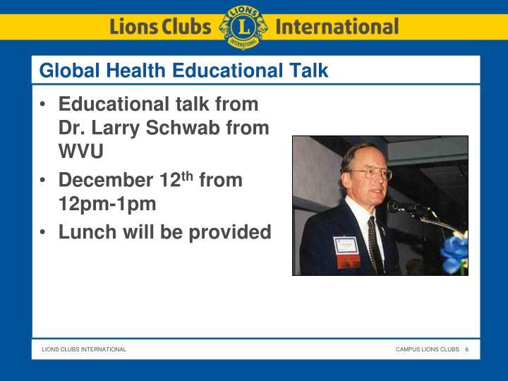 Global Health Educational Talk