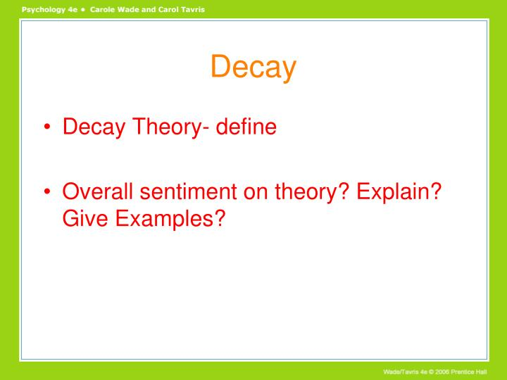 decay theory definition