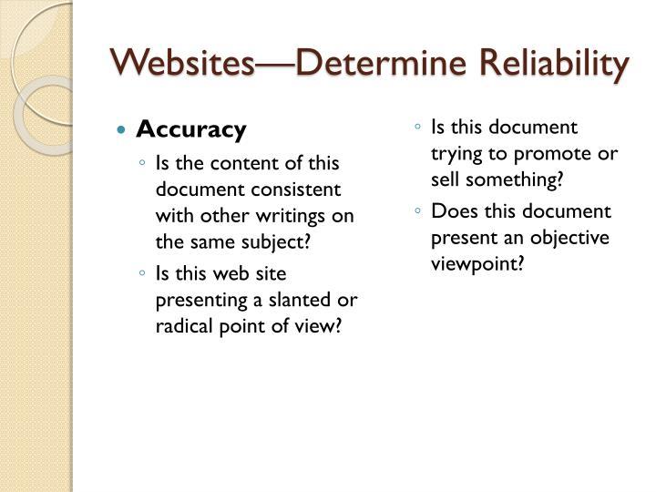 Websites—Determine Reliability