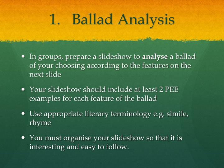 lord randall analysis Students explore the ballads genre by reading medieval ballads to deduce their characteristics, acting out the ballads, comparing medieval and modern ballads using venn diagrams, and composing their own ballads.