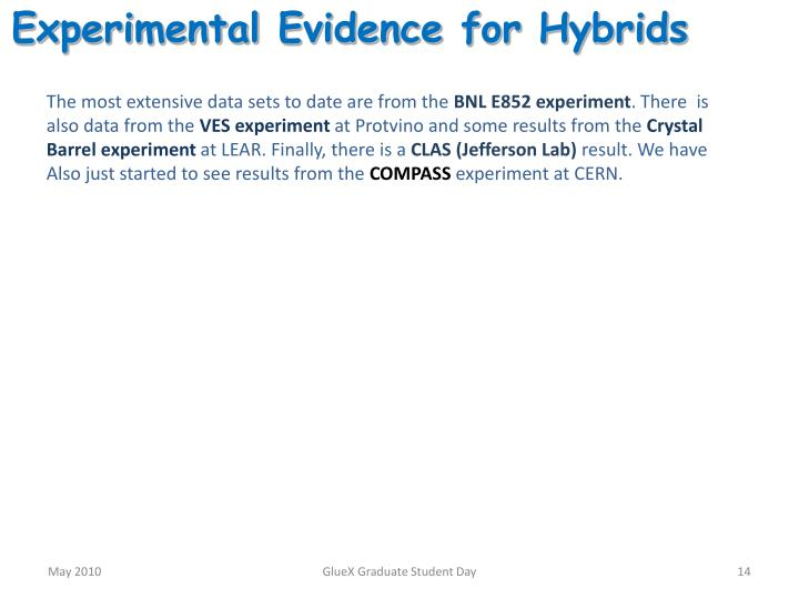 Experimental Evidence for Hybrids