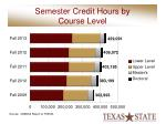 semester credit hours by course level