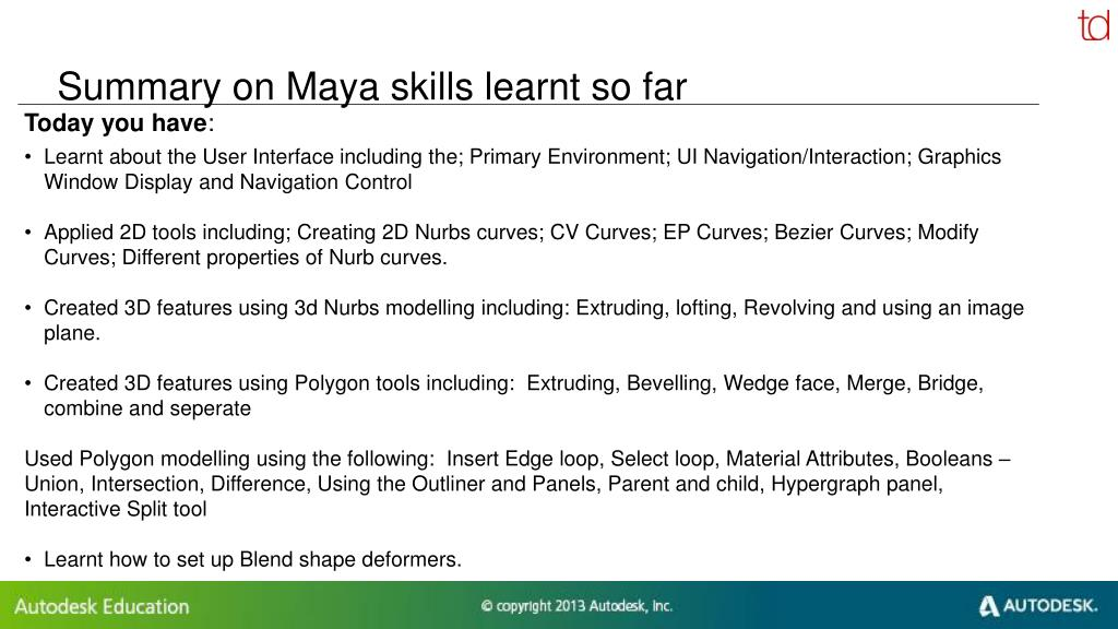 PPT - UK Autodesk Maya Training Programme PowerPoint Presentation