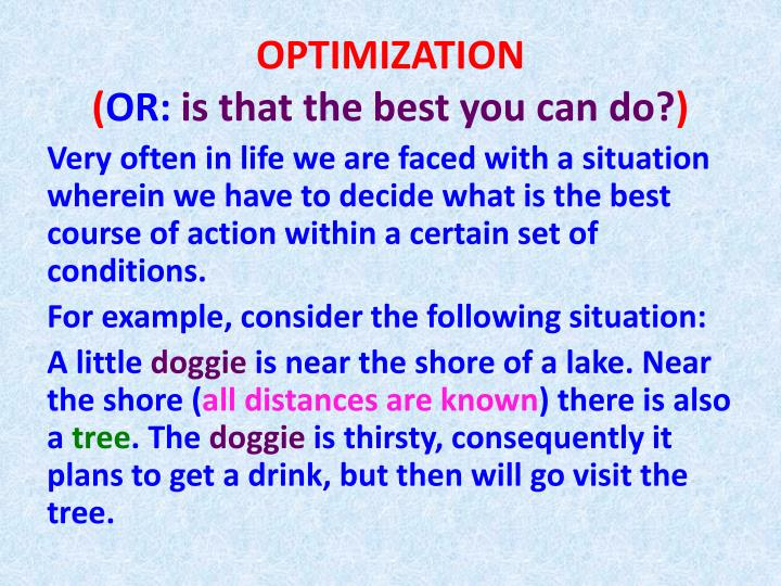 optimization or is that the best you can do