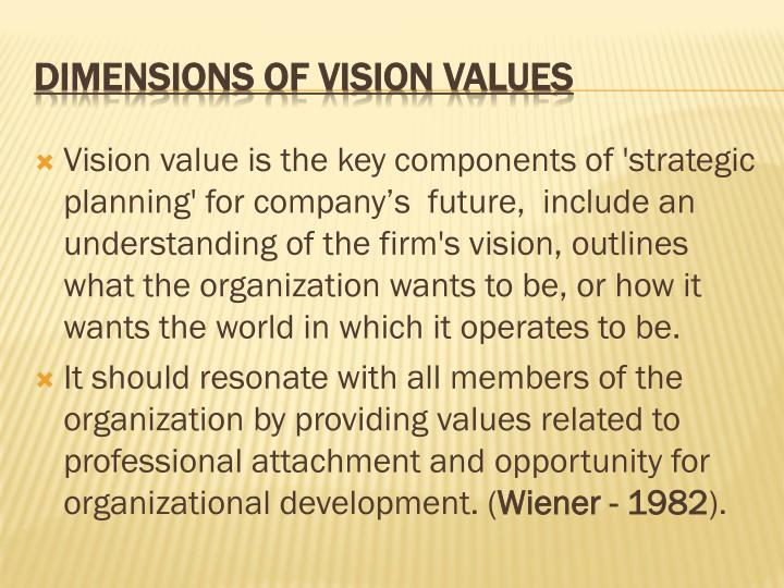 Vision value is the key components of 'strategic planning' for company's  future,  include an understanding of the firm's vision, outlines what the organization wants to be, or how it wants the world in which it operates to be.