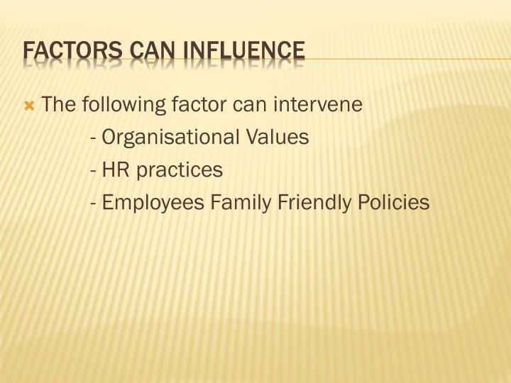 The following factor can intervene
