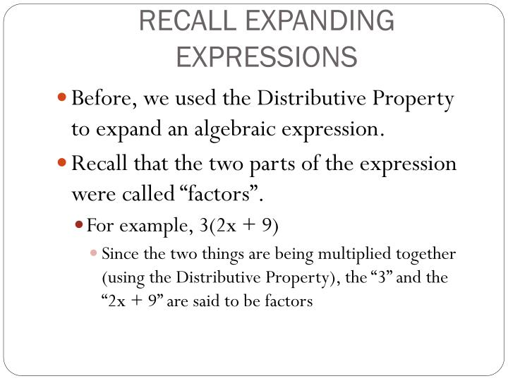 Ppt Factoring Algebraic Expressions Powerpoint Presentation Id