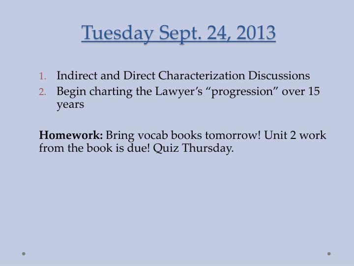 Tuesday sept 24 2013