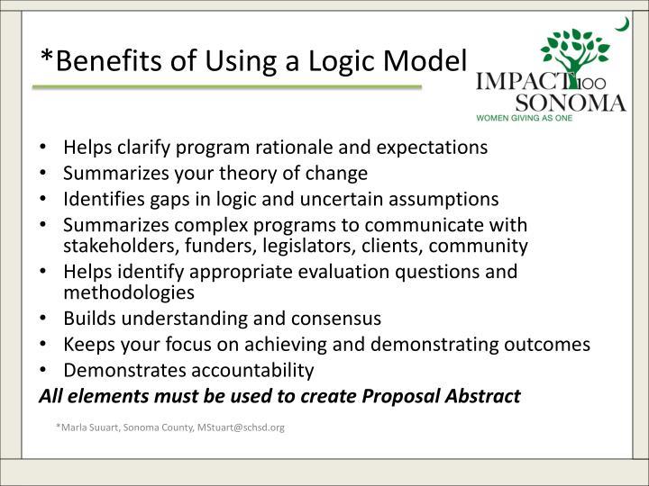 *Benefits of Using a Logic Model