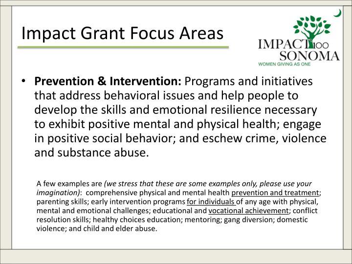 Impact Grant Focus Areas