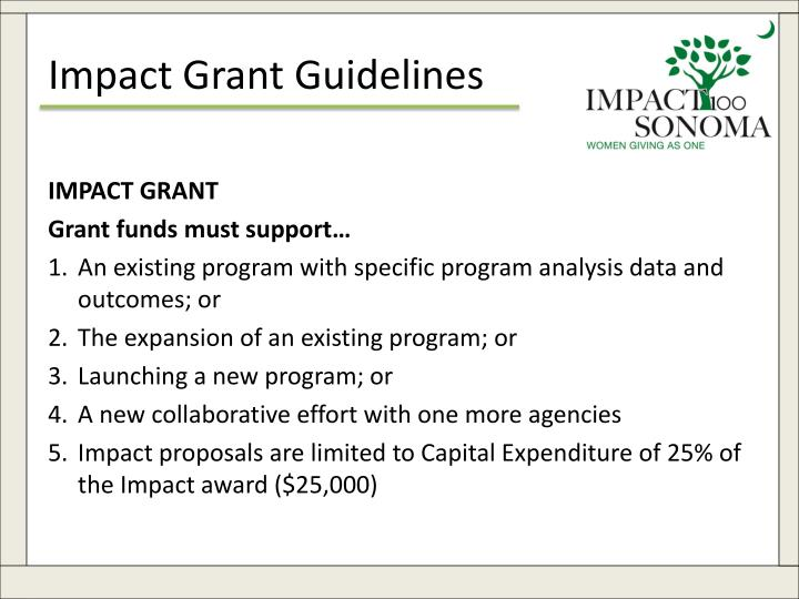 Impact Grant Guidelines