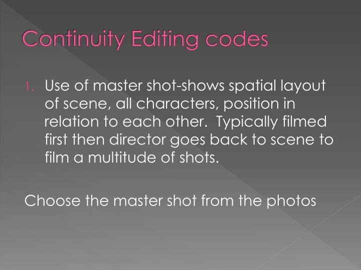 Continuity Editing codes