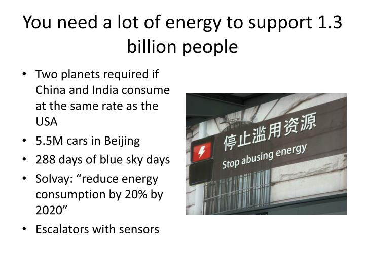 You need a lot of energy to support 1 3 billion people
