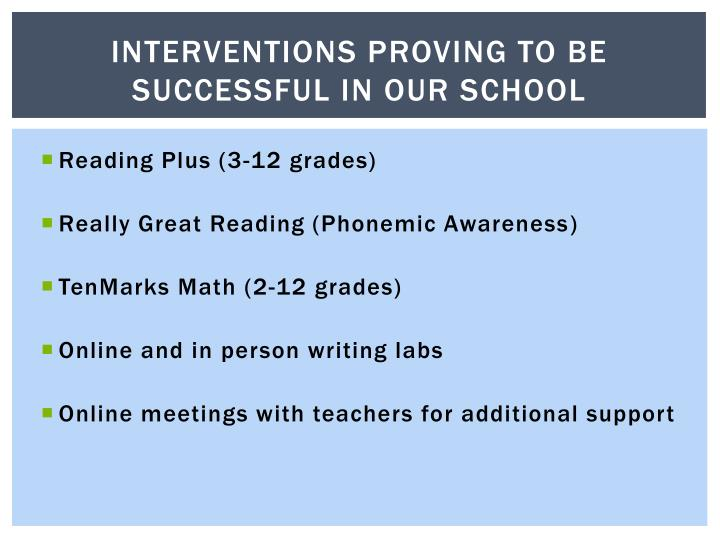 Interventions Proving to be successful in our school