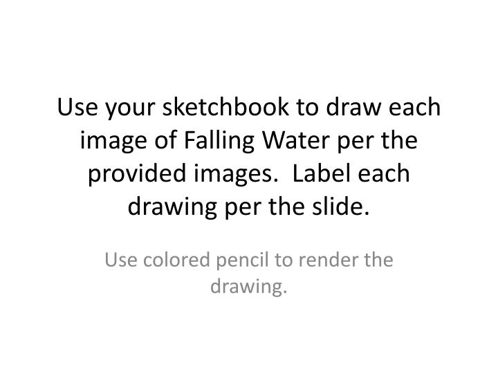Use your sketchbook to draw each image of Falling Water per the provided images.  Label each drawing...